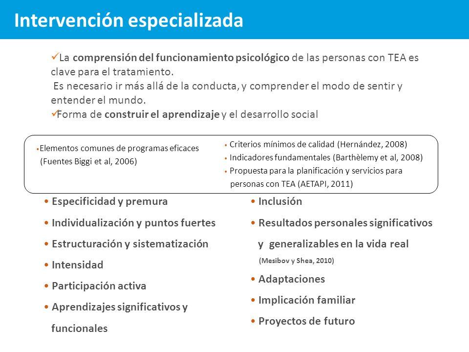 Elementos comunes de programas eficaces (Fuentes Biggi et al, 2006) Especificidad y premura Individualización y puntos fuertes Estructuración y sistem