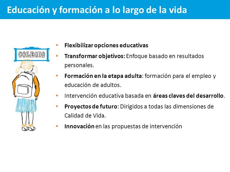 Flexibilizar opciones educativas Transformar objetivos: Enfoque basado en resultados personales. Formación en la etapa adulta: formación para el emple