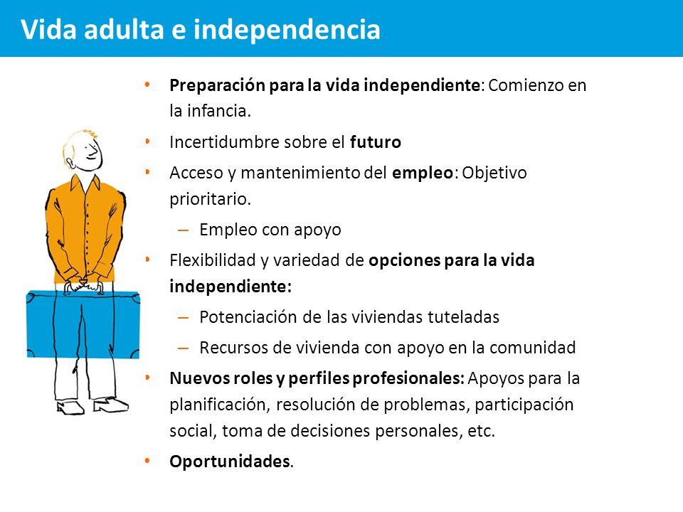 Preparación para la vida independiente: Comienzo en la infancia. Incertidumbre sobre el futuro Acceso y mantenimiento del empleo: Objetivo prioritario