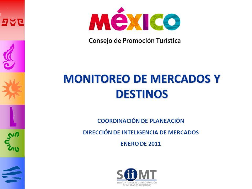 22 Las llegadas de turistas vía aérea a México han aumentado 1.2% con respecto a 2009 y 0% con respecto a 2008 Llegadas por vía aérea de turismo internacional 22