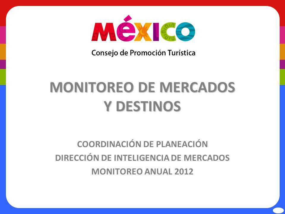 MONITOREO DE MERCADOS Y DESTINOS COORDINACIÓN DE PLANEACIÓN DIRECCIÓN DE INTELIGENCIA DE MERCADOS MONITOREO ANUAL 2012