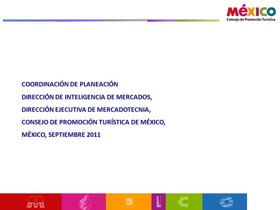 COORDINACIÓN DE PLANEACIÓN DIRECCIÓN DE INTELIGENCIA DE MERCADOS, DIRECCIÓN EJECUTIVA DE MERCADOTECNIA, CONSEJO DE PROMOCIÓN TURÍSTICA DE MÉXICO, MÉXICO, SEPTIEMBRE 2011