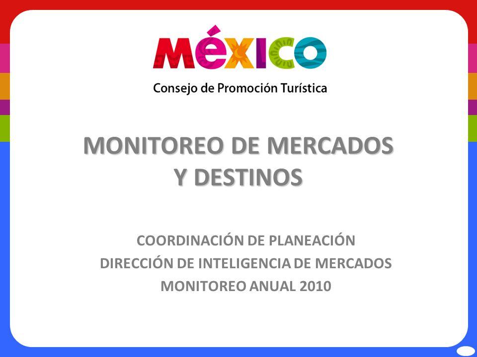 MONITOREO DE MERCADOS Y DESTINOS COORDINACIÓN DE PLANEACIÓN DIRECCIÓN DE INTELIGENCIA DE MERCADOS MONITOREO ANUAL 2010