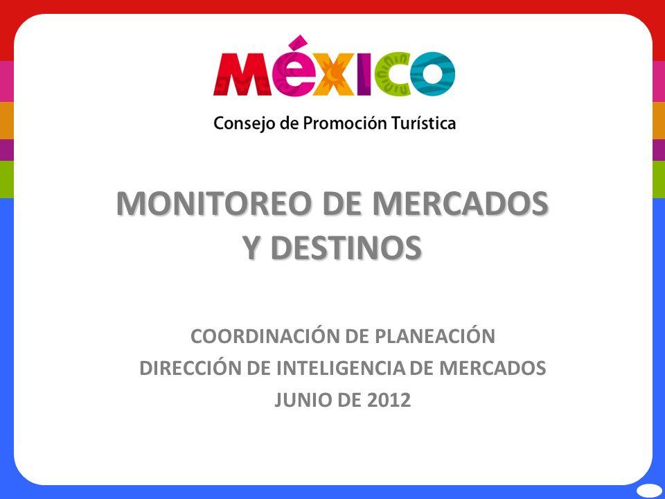 Llegadas de visitantes internacionales por vía aérea Las llegadas de visitantes vía aérea a México en el periodo Enero-Abril 2012 aumentó 5.3% con respecto a 2011 Fuente: Sistema Integral de Operación Migratoria, SIOM Cifras preliminares