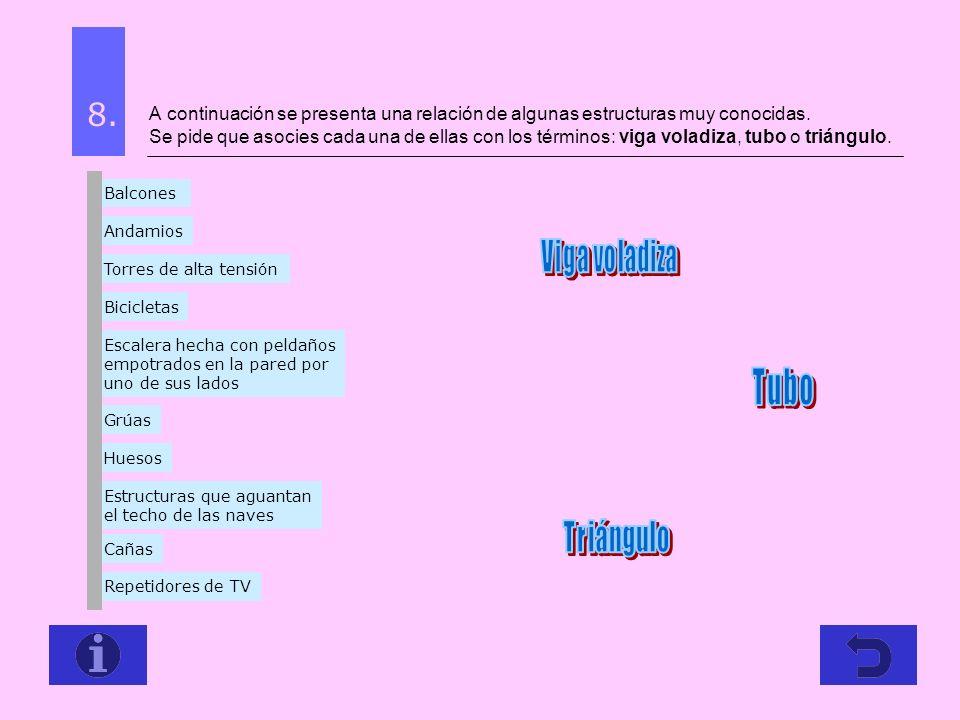 A continuación se presenta una relación de algunas estructuras muy conocidas. Se pide que asocies cada una de ellas con los términos: viga voladiza, t