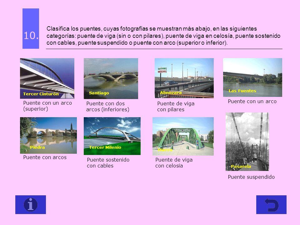 Clasifica los puentes, cuyas fotografías se muestran más abajo, en las siguientes categorías: puente de viga (sin o con pilares), puente de viga en ce