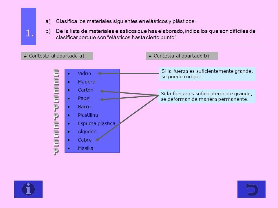 1. a)Clasifica los materiales siguientes en elásticos y plásticos. b)De la lista de materiales elásticos que has elaborado, indica los que son difícil