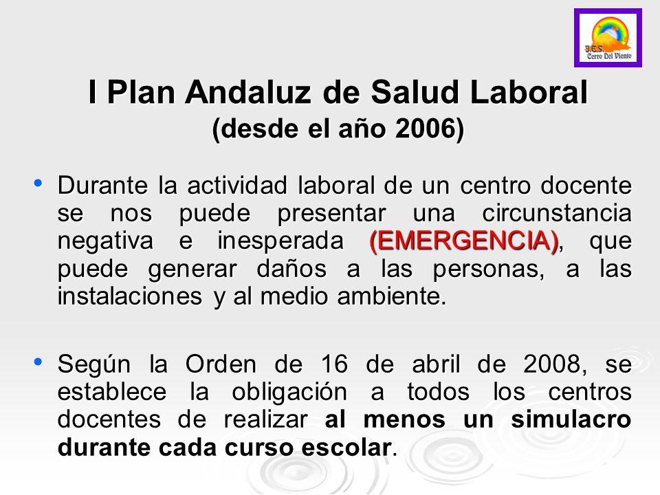 I Plan Andaluz de Salud Laboral (desde el año 2006) Durante la actividad laboral de un centro docente se nos puede presentar una circunstancia negativ