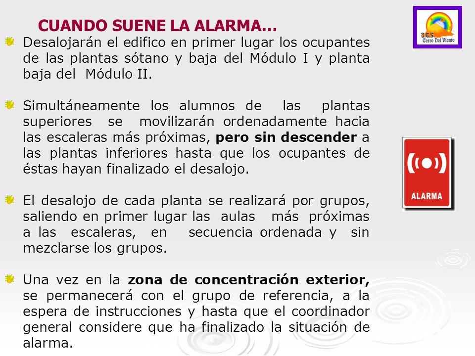 SE SALE ANDANDO, formando dos FILAS en paralelo La ZONA DE SEGURIDAD son las PISTAS DEPORTIVAS junto a las gradas para E.S.O.