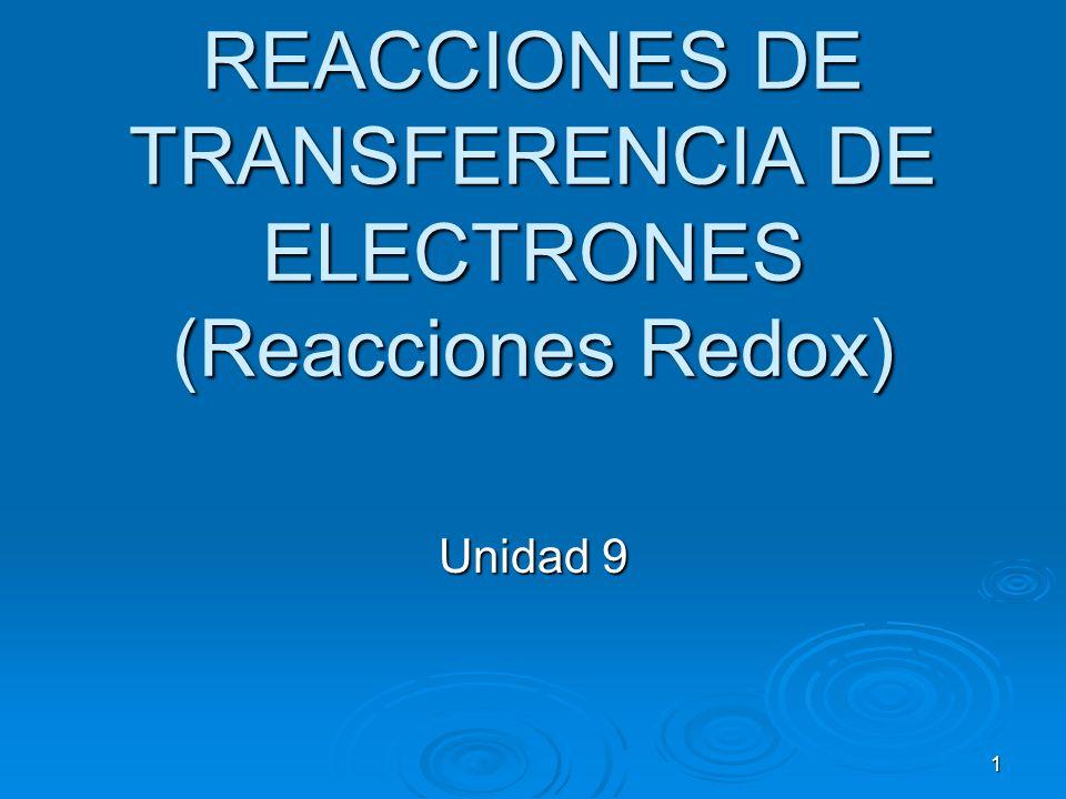 1 REACCIONES DE TRANSFERENCIA DE ELECTRONES (Reacciones Redox) Unidad 9
