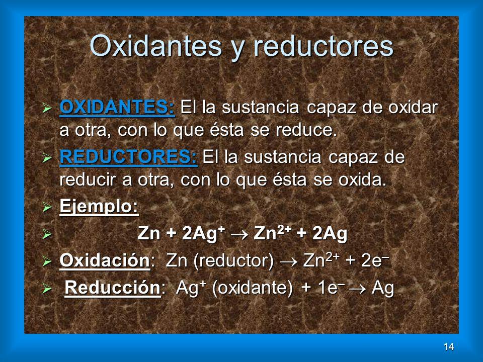 14 Oxidantes y reductores OXIDANTES: El la sustancia capaz de oxidar a otra, con lo que ésta se reduce. OXIDANTES: El la sustancia capaz de oxidar a o