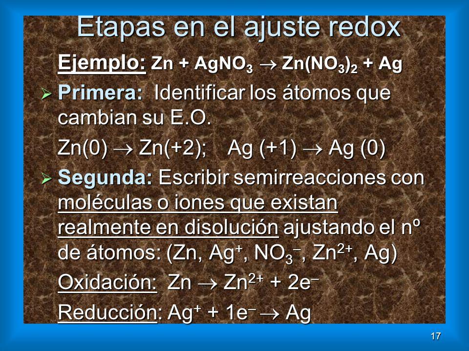 17 Etapas en el ajuste redox Ejemplo: Zn + AgNO 3 Zn(NO 3 ) 2 + Ag Primera: Identificar los átomos que cambian su E.O. Primera: Identificar los átomos
