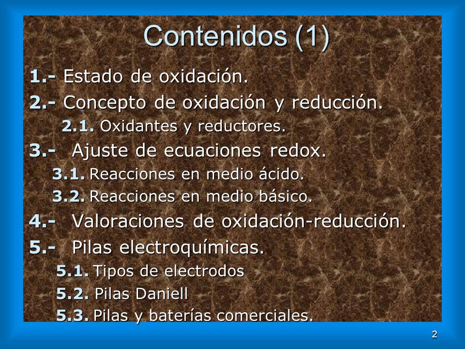 2 Contenidos (1) 1.- Estado de oxidación. 2.- Concepto de oxidación y reducción. 2.1. Oxidantes y reductores. 2.1. Oxidantes y reductores. 3.- Ajuste