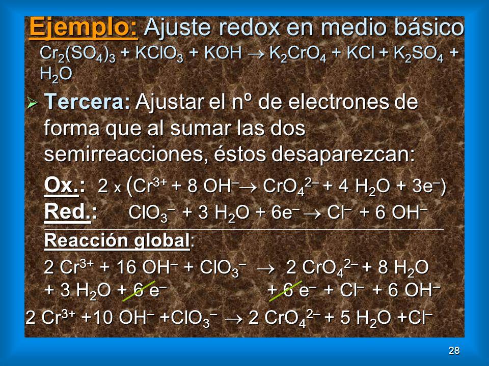 28 Ejemplo: Ajuste redox en medio básico Cr 2 (SO 4 ) 3 + KClO 3 + KOH K 2 CrO 4 + KCl + K 2 SO 4 + H 2 O Tercera: Ajustar el nº de electrones de form