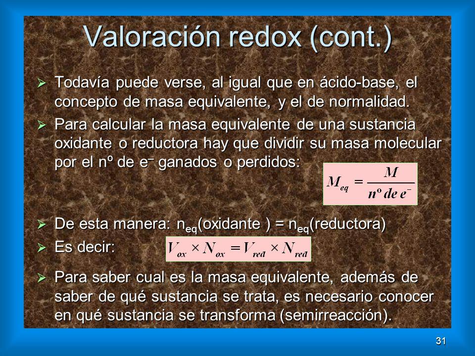 31 Valoración redox (cont.) Todavía puede verse, al igual que en ácido-base, el concepto de masa equivalente, y el de normalidad. Todavía puede verse,