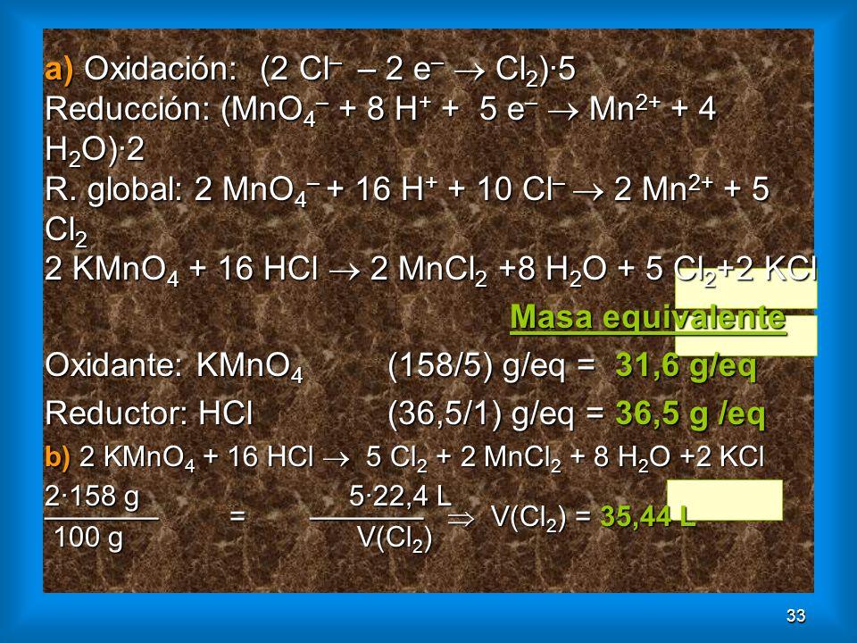 33 a) Oxidación: (2 Cl – – 2 e – Cl 2 )·5 Reducción: (MnO 4 – + 8 H + + 5 e – Mn 2+ + 4 H 2 O)·2 R. global: 2 MnO 4 – + 16 H + + 10 Cl – 2 Mn 2+ + 5 C