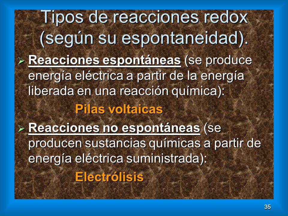 35 Tipos de reacciones redox (según su espontaneidad). Reacciones espontáneas (se produce energía eléctrica a partir de la energía liberada en una rea