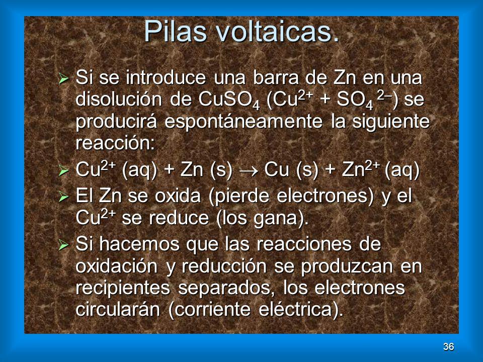 36 Pilas voltaicas. Si se introduce una barra de Zn en una disolución de CuSO 4 (Cu 2+ + SO 4 2– ) se producirá espontáneamente la siguiente reacción: