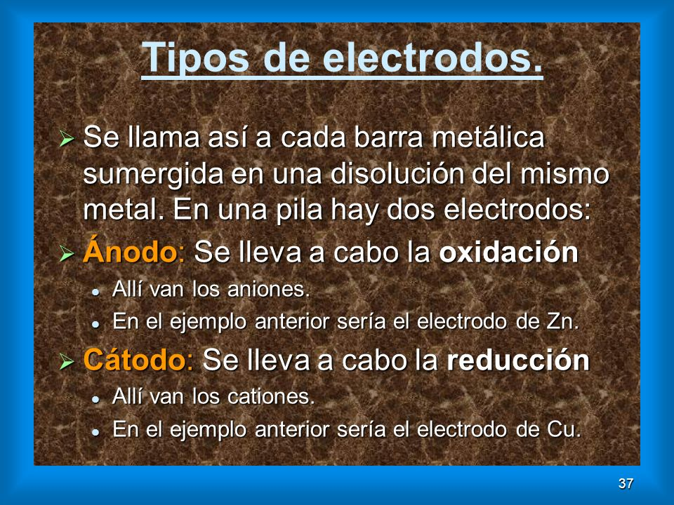 37 Tipos de electrodos. Se llama así a cada barra metálica sumergida en una disolución del mismo metal. En una pila hay dos electrodos: Se llama así a