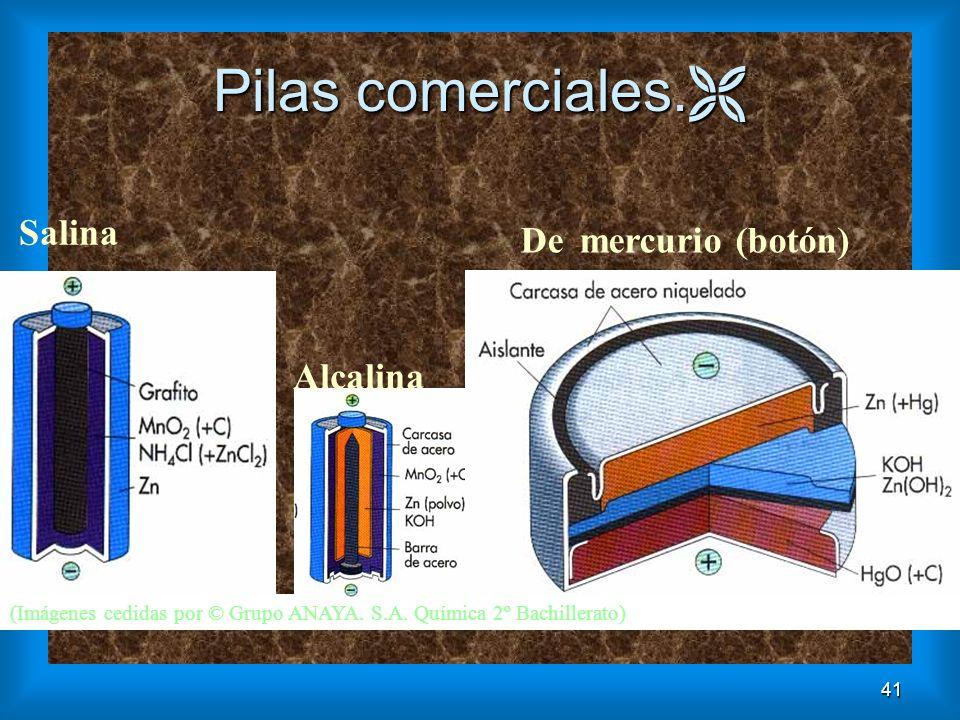 41 Pilas comerciales. Pilas comerciales. (Imágenes cedidas por © Grupo ANAYA. S.A. Química 2º Bachillerato) Alcalina De mercurio (botón) Salina