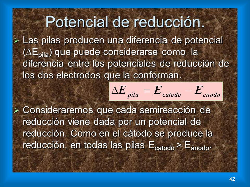 42 Potencial de reducción. Las pilas producen una diferencia de potencial ( E pila ) que puede considerarse como la diferencia entre los potenciales d