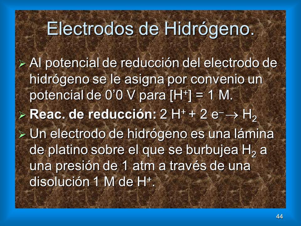 44 Electrodos de Hidrógeno. Al potencial de reducción del electrodo de hidrógeno se le asigna por convenio un potencial de 00 V para [H + ] = 1 M. Al