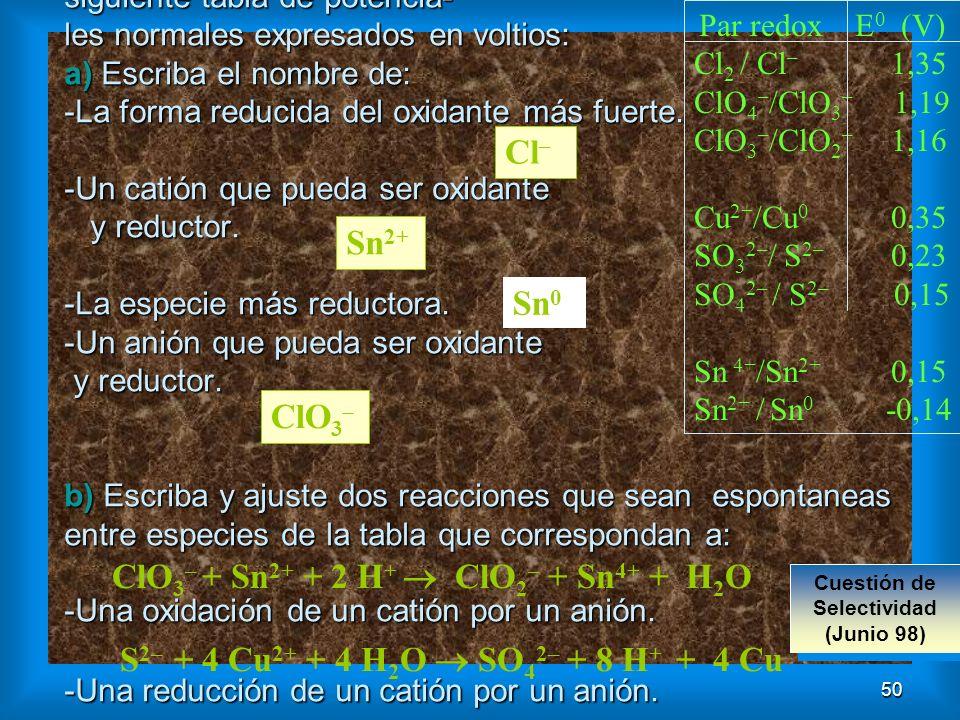 50 Ejercicio E: Dada la siguiente tabla de potencia- les normales expresados en voltios: a) Escriba el nombre de: -La forma reducida del oxidante más