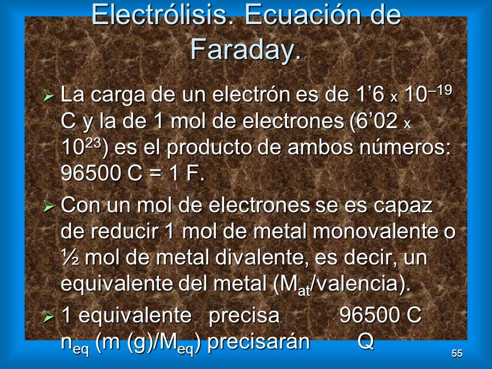 55 Electrólisis. Ecuación de Faraday. La carga de un electrón es de 16 x 10 –19 C y la de 1 mol de electrones (602 x 10 23 ) es el producto de ambos n