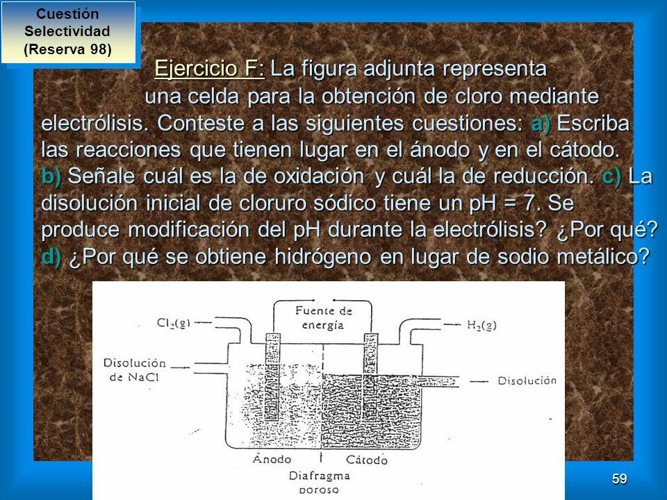 59 Ejercicio F: La figura adjunta representa una celda para la obtención de cloro mediante electrólisis. Conteste a las siguientes cuestiones: a) Escr