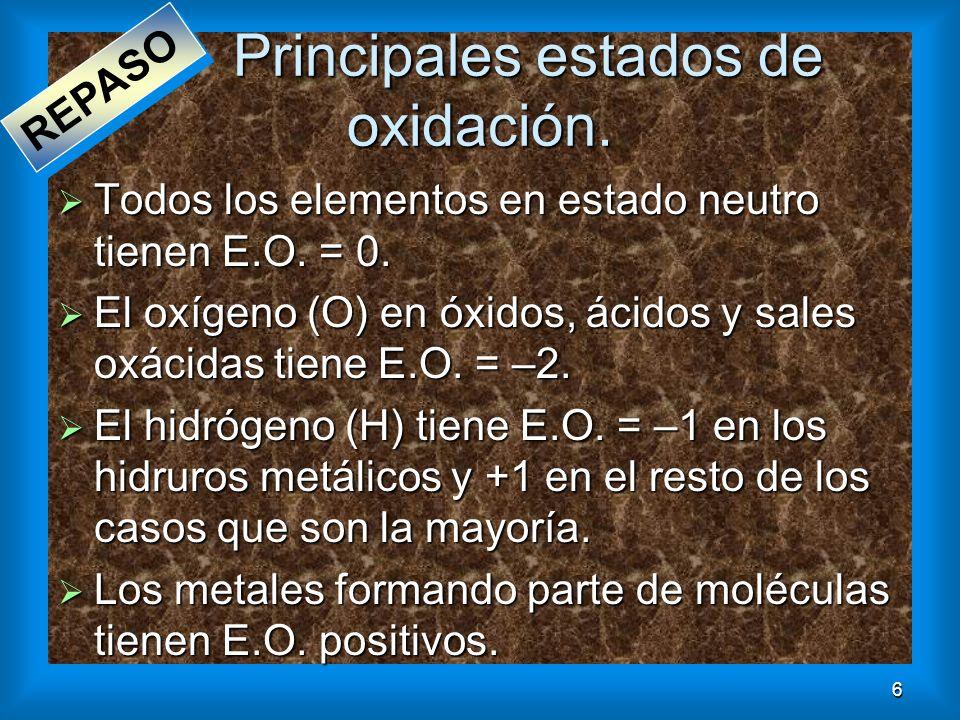 6 Principales estados de oxidación. Todos los elementos en estado neutro tienen E.O. = 0. Todos los elementos en estado neutro tienen E.O. = 0. El oxí