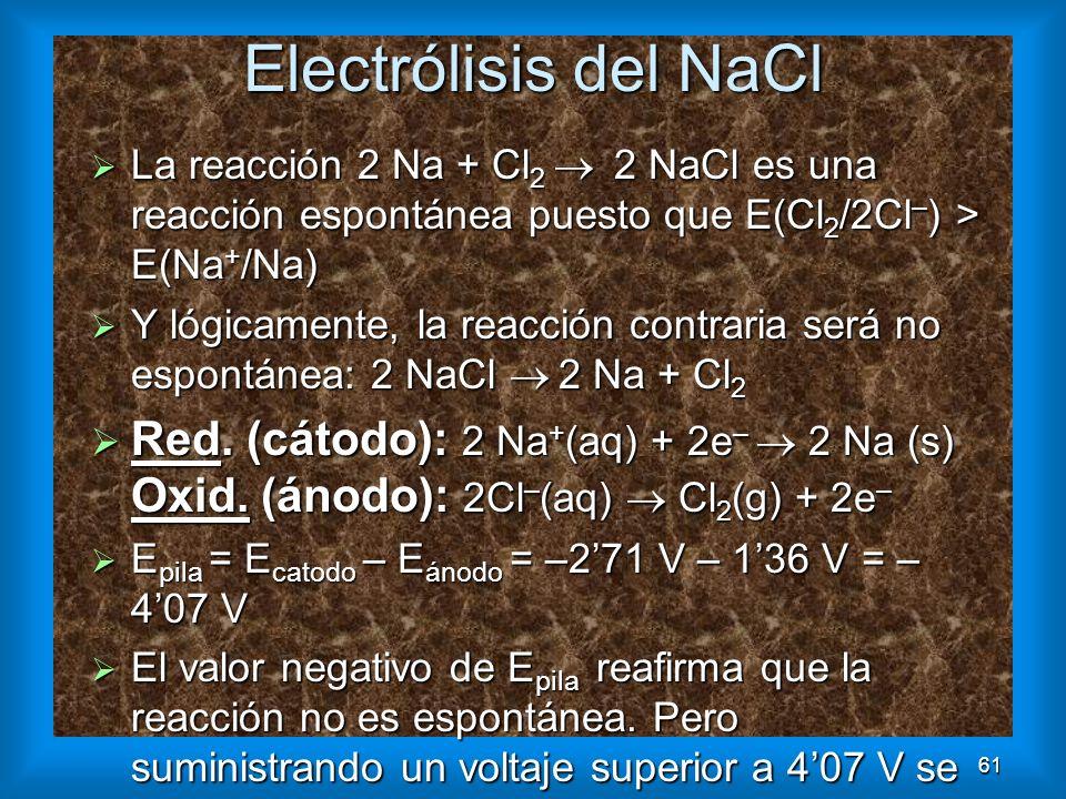 61 Electrólisis del NaCl La reacción 2 Na + Cl 2 2 NaCl es una reacción espontánea puesto que E(Cl 2 /2Cl – ) > E(Na + /Na) La reacción 2 Na + Cl 2 2