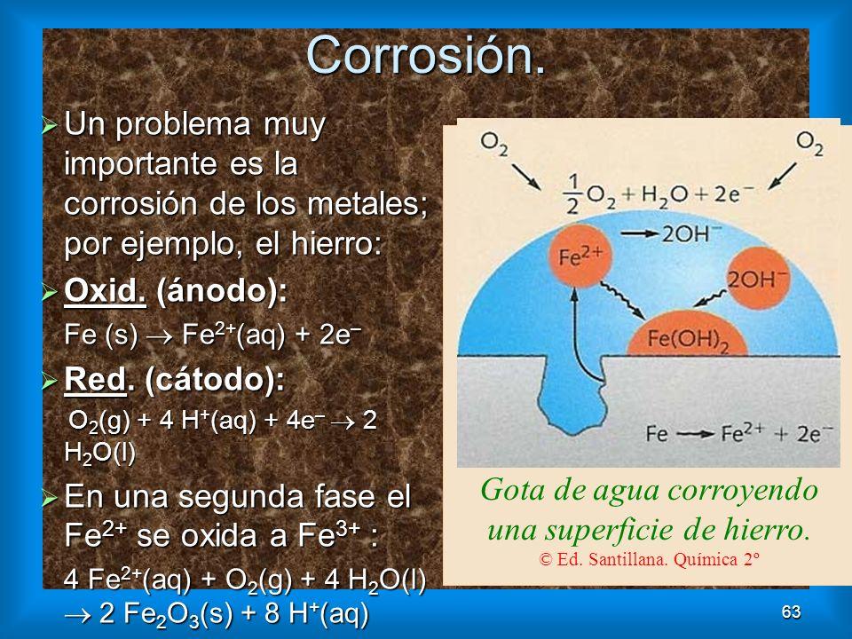 63Corrosión. Gota de agua corroyendo una superficie de hierro. © Ed. Santillana. Química 2º Un problema muy importante es la corrosión de los metales;