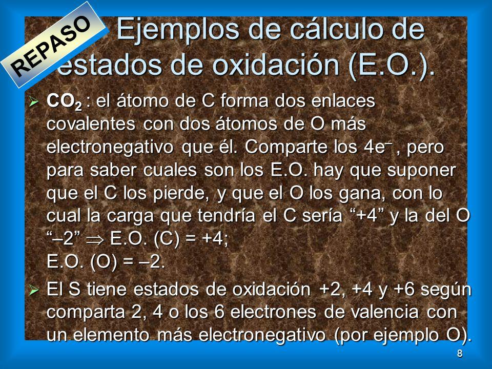 8 Ejemplos de cálculo de estados de oxidación (E.O.). CO 2 : el átomo de C forma dos enlaces covalentes con dos átomos de O más electronegativo que él