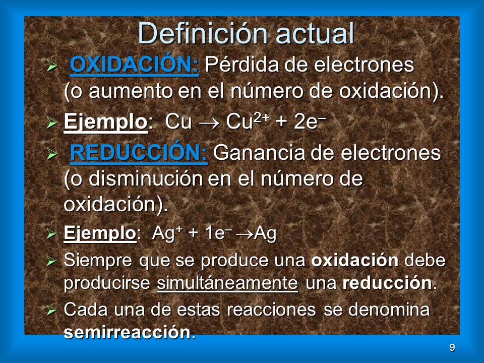 9 Definición actual OXIDACIÓN: Pérdida de electrones (o aumento en el número de oxidación). OXIDACIÓN: Pérdida de electrones (o aumento en el número d