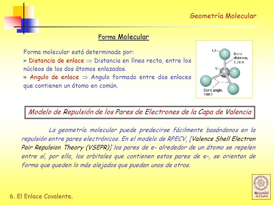 6. El Enlace Covalente. Geometría Molecular Forma molecular está determinada por: » Distancia de enlace Distancia en línea recta, entre los núcleos de