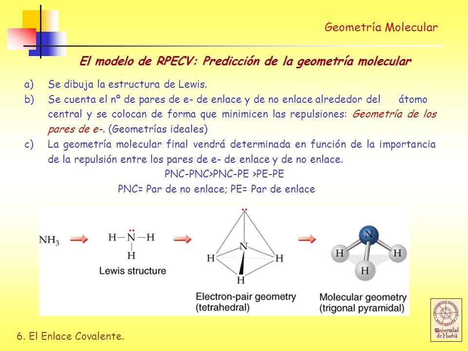 6. El Enlace Covalente. Geometría Molecular El modelo de RPECV: Predicción de la geometría molecular a) Se dibuja la estructura de Lewis. b)Se cuenta