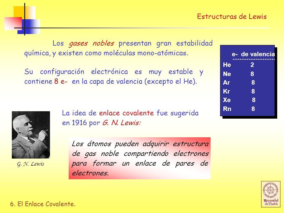 6. El Enlace Covalente. Los gases nobles presentan gran estabilidad química, y existen como moléculas mono-atómicas. Estructuras de Lewis e- de valenc