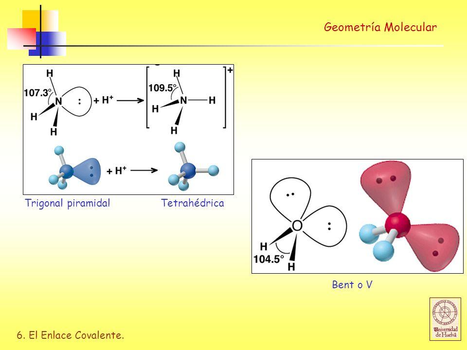 6. El Enlace Covalente. Geometría Molecular Trigonal piramidalTetrahédrica Bent o V