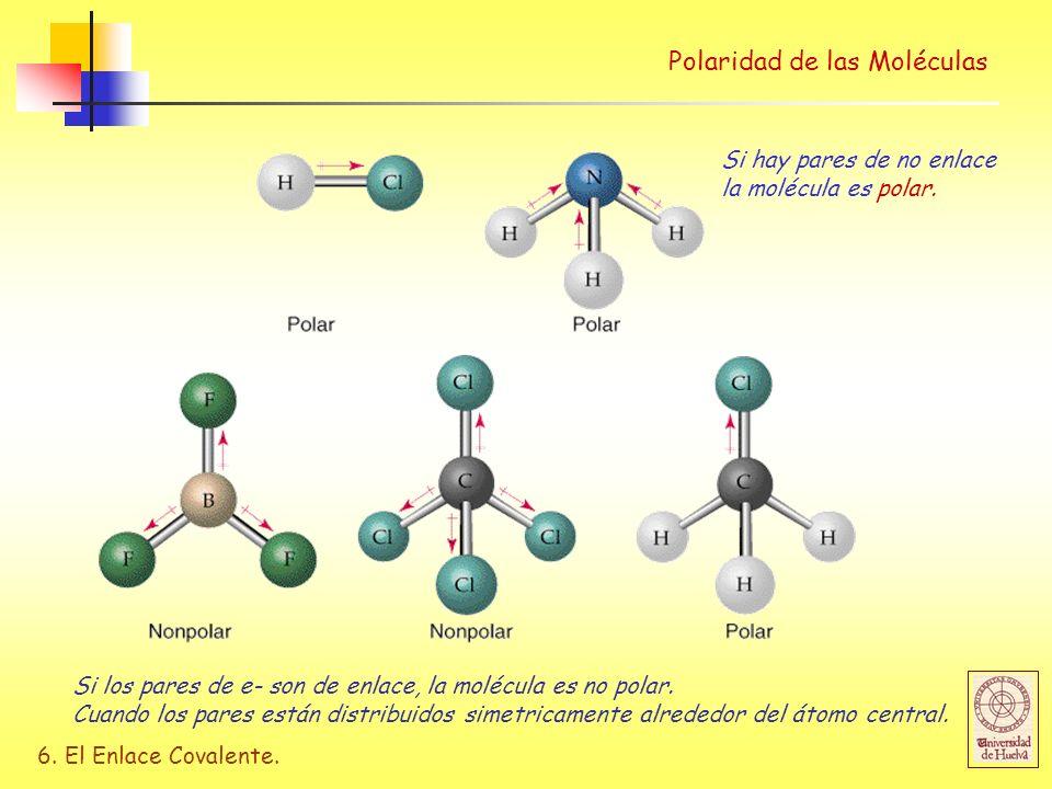 6. El Enlace Covalente. Polaridad de las Moléculas Si hay pares de no enlace la molécula es polar. Si los pares de e- son de enlace, la molécula es no