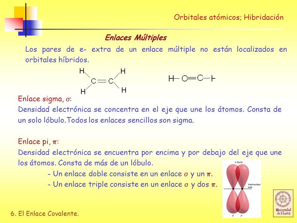 6. El Enlace Covalente. Orbitales atómicos; Hibridación Enlaces Múltiples Los pares de e- extra de un enlace múltiple no están localizados en orbitale