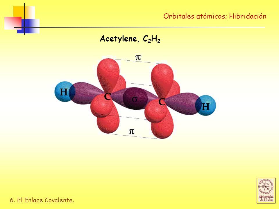 6. El Enlace Covalente. Orbitales atómicos; Hibridación Acetylene, C 2 H 2
