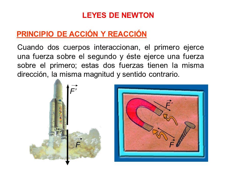 LEYES DE NEWTON Cuando dos cuerpos interaccionan, el primero ejerce una fuerza sobre el segundo y éste ejerce una fuerza sobre el primero; estas dos f