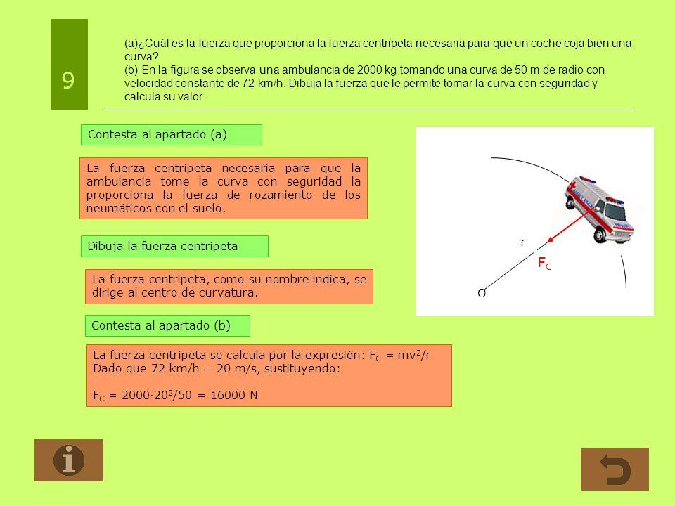 (a)¿Cuál es la fuerza que proporciona la fuerza centrípeta necesaria para que un coche coja bien una curva? (b) En la figura se observa una ambulancia