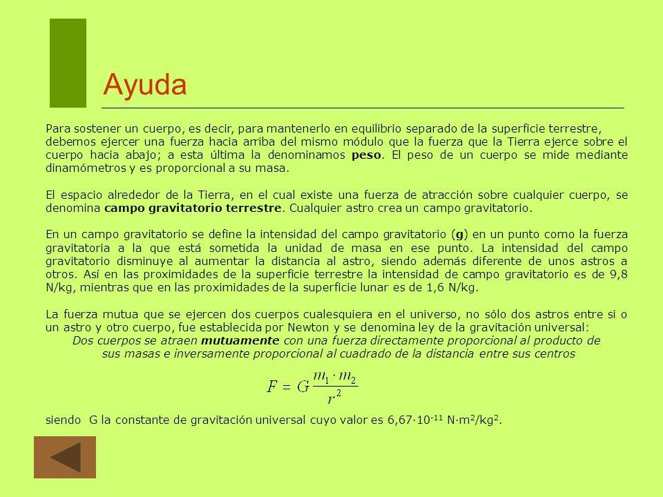 Ayuda La intensidad del campo gravitatorio en un punto se ha definido como la fuerza gravitatoria que actúa sobre la unidad de masa en ese punto.
