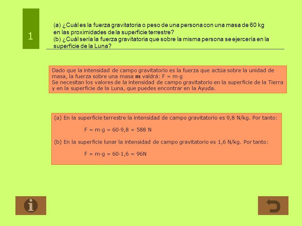 (a) ¿Cuál es la fuerza gravitatoria o peso de una persona con una masa de 60 kg en las proximidades de la superficie terrestre? (b) ¿Cuál sería la fue