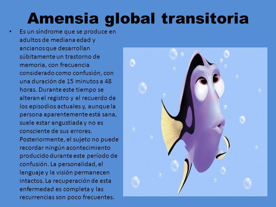 Amensia global transitoria Es un síndrome que se produce en adultos de mediana edad y ancianos que desarrollan súbitamente un trastorno de memoria, co