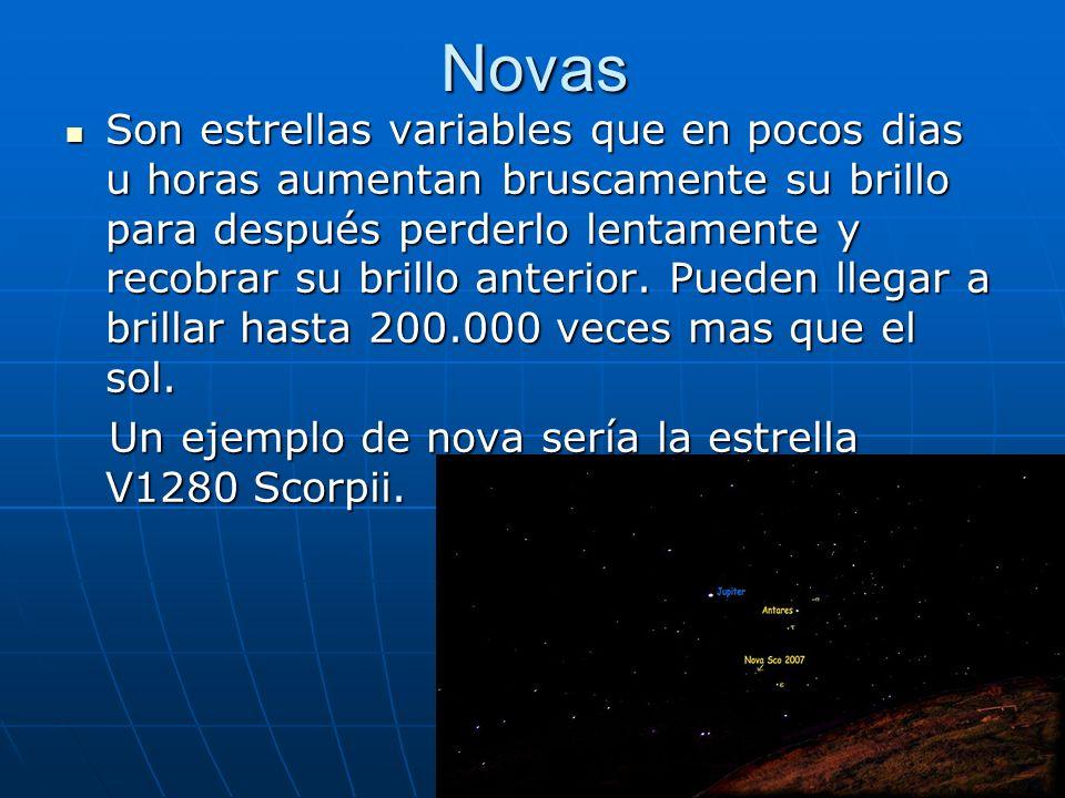 Novas Son estrellas variables que en pocos dias u horas aumentan bruscamente su brillo para después perderlo lentamente y recobrar su brillo anterior.