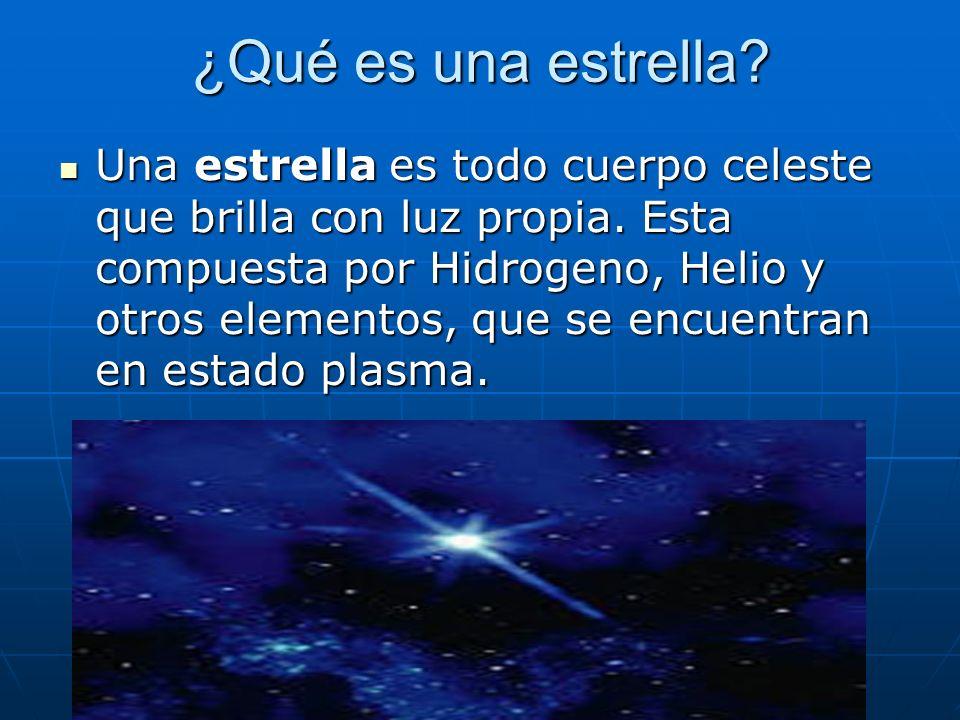 ¿Qué es una estrella? Una estrella es todo cuerpo celeste que brilla con luz propia. Esta compuesta por Hidrogeno, Helio y otros elementos, que se enc