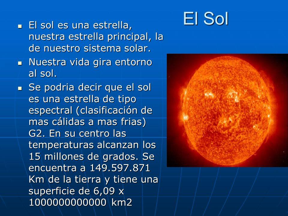 El Sol El sol es una estrella, nuestra estrella principal, la de nuestro sistema solar. El sol es una estrella, nuestra estrella principal, la de nues