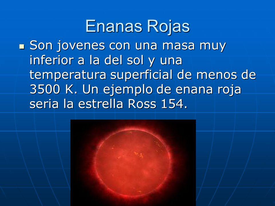 Enanas Rojas Son jovenes con una masa muy inferior a la del sol y una temperatura superficial de menos de 3500 K. Un ejemplo de enana roja seria la es